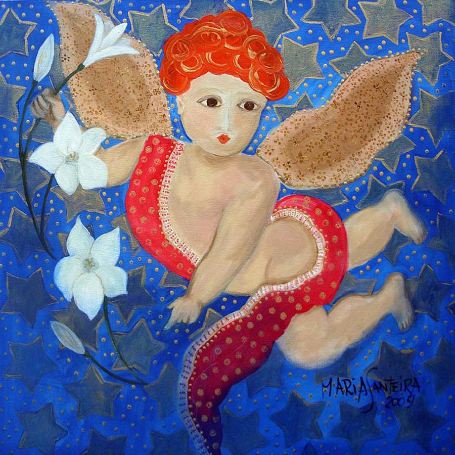 Angel Painting - Just A Little Cherubim by Maria Matheus Maria Santeira