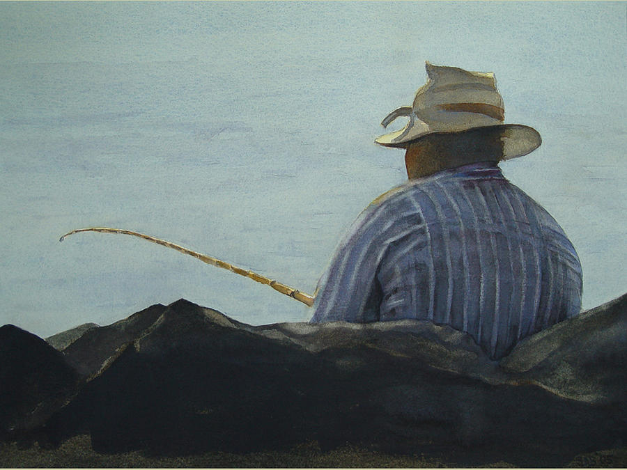 Fishing Painting - Just Fishing by Sarah Buell  Dowling