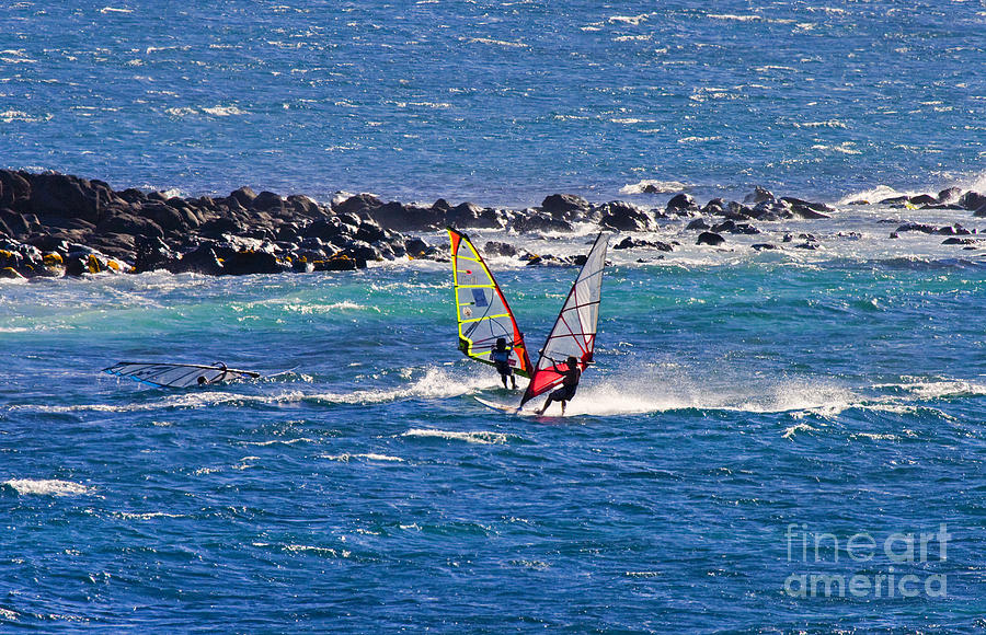 Windsurfer Photograph - Just Passing By by Mike  Dawson