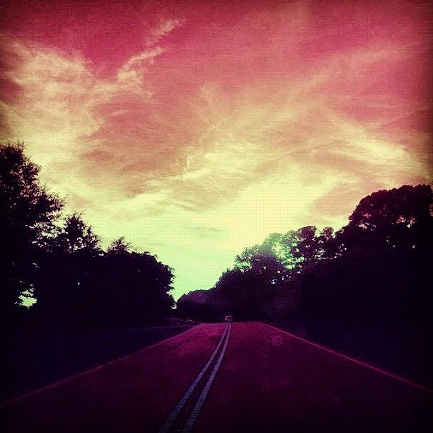 Summer Photograph - #justdriving #colourful #sky #road by Katie Williams
