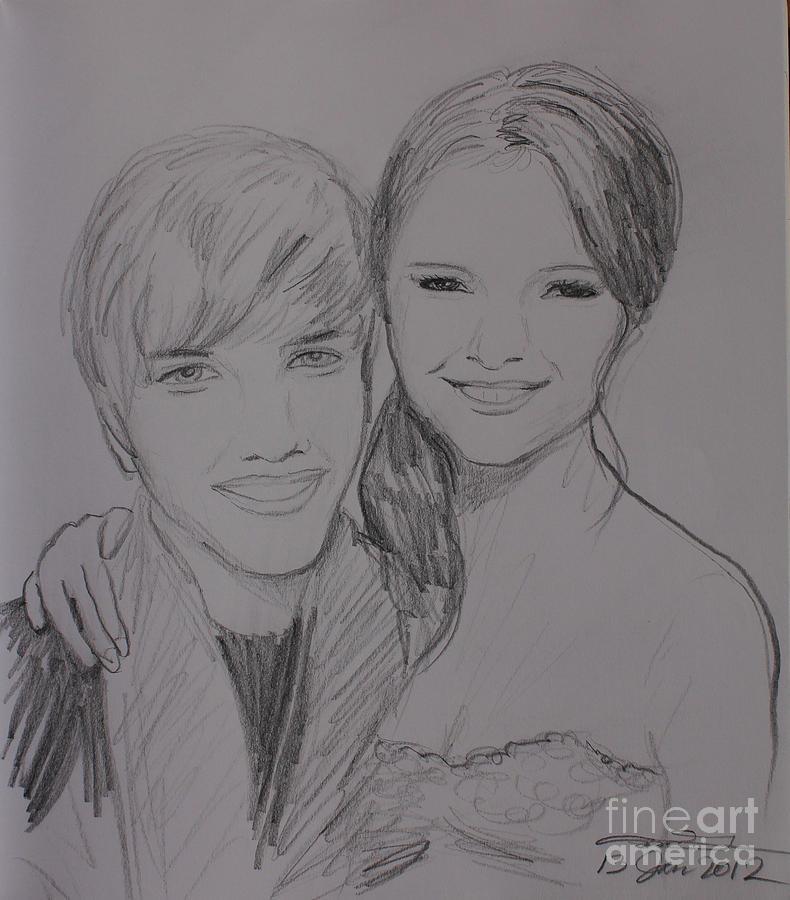 Justin Bieber Drawing - Justin And Selena by Amanda Li