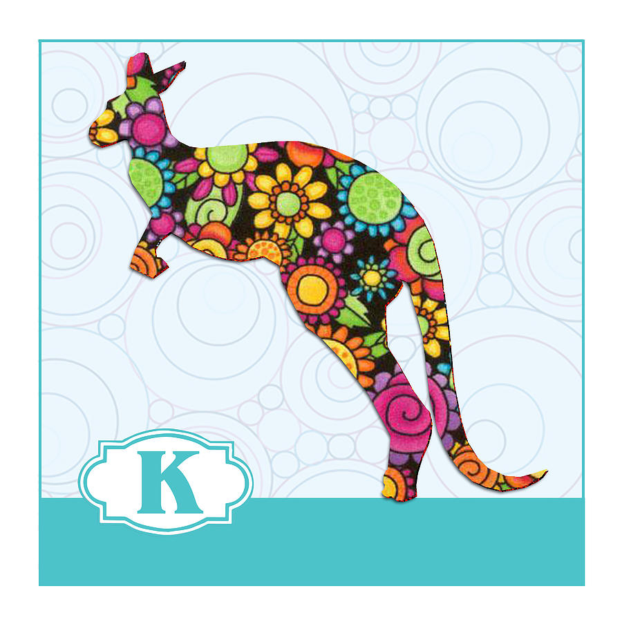 K Is For Kangaroo Painting by Elaine Plesser