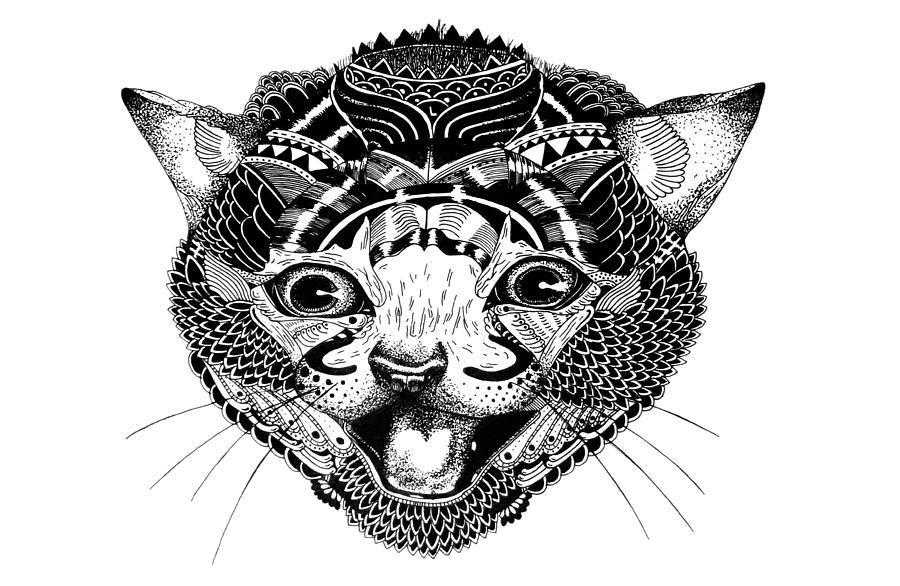 Cat Drawing - K Kat by JF Mondello