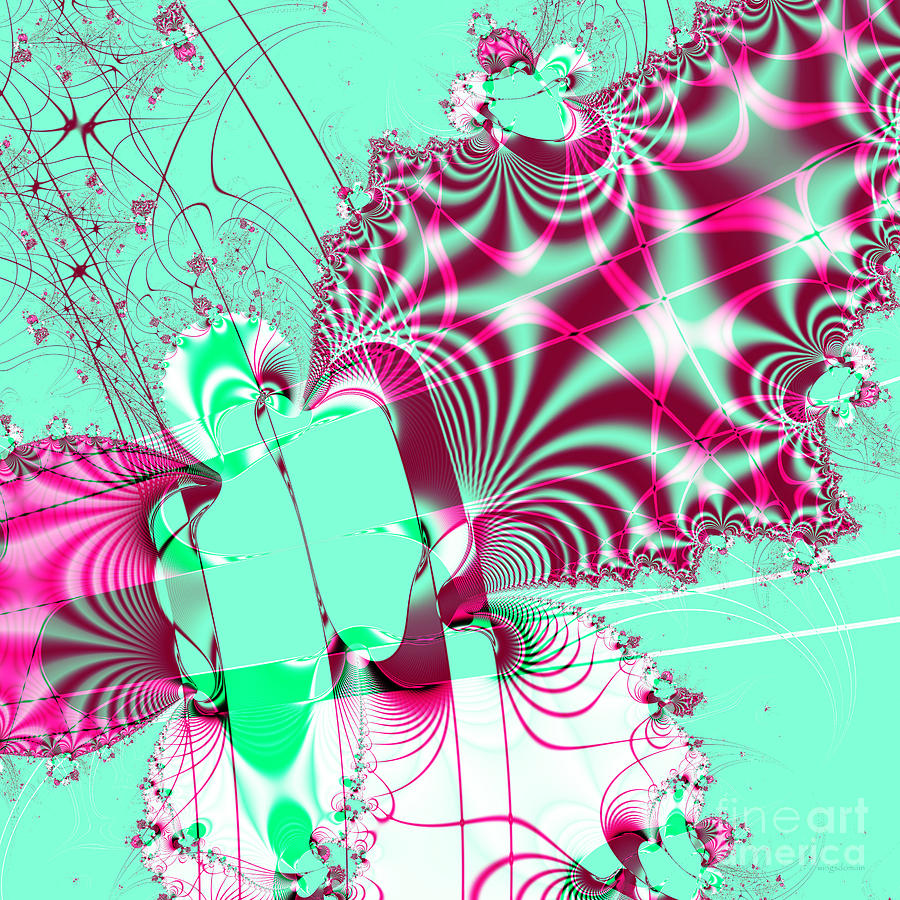Fractal Digital Art - Kabuki . Square by Wingsdomain Art and Photography