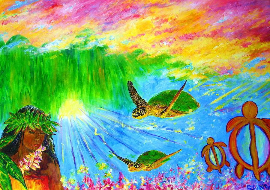 Dolphins Painting - kahuna-Honu by Tamara Tavernier