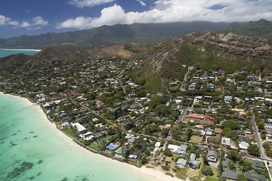 Aerial Photograph - Kailua Aerial by Peter French