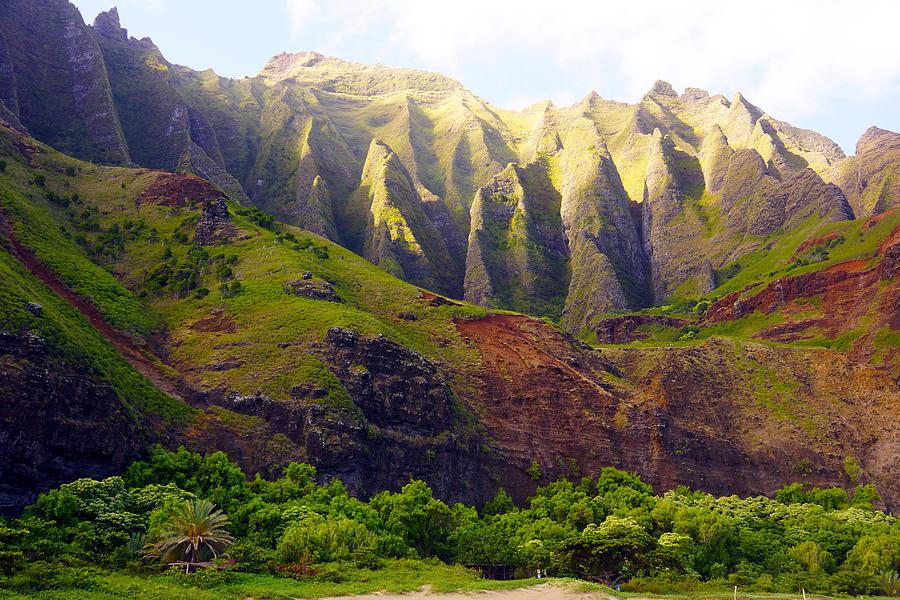 Kauai Photograph - Kalalau Beach Mountains Kauai by Kevin Smith