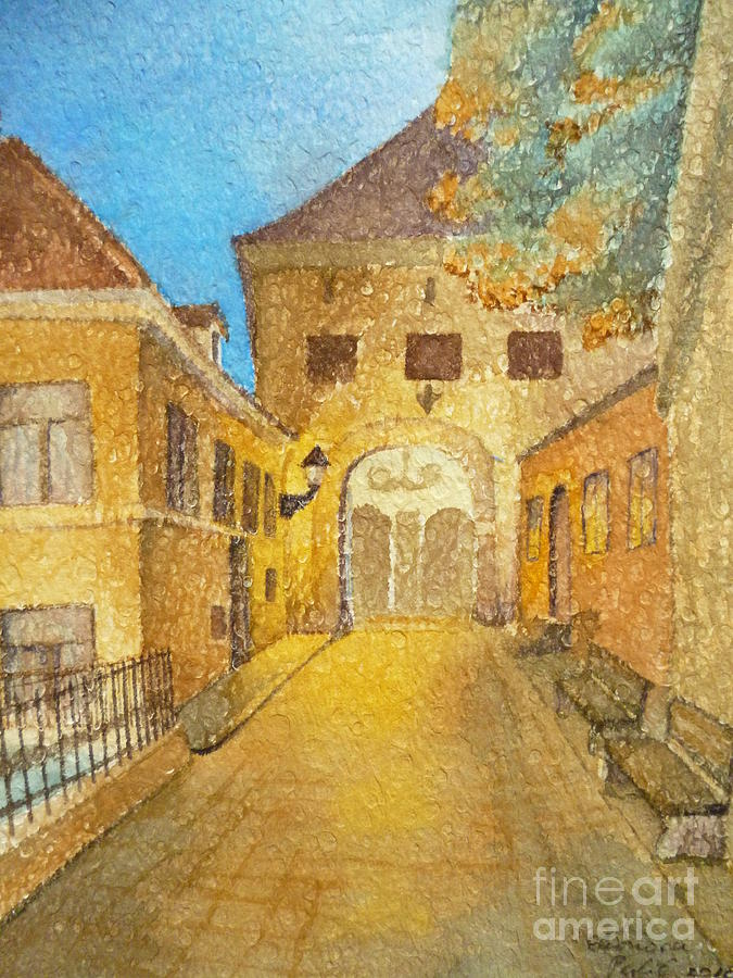 Watercolors Painting - Kamenita Vrata by Eleonora Perlic
