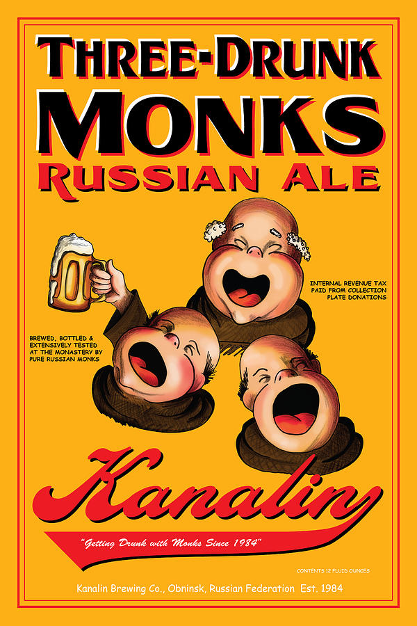Monks Drawing - Kanalin Three Drunk Monks by John OBrien