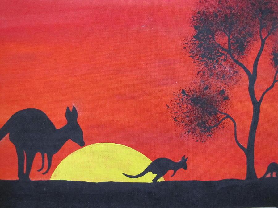 Aboriginal Painting - Kangaroo Sunset  by Courtney Adams