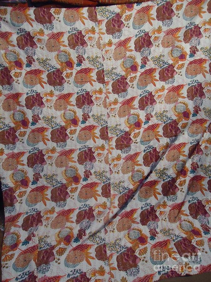 Indian Quilts Tapestry - Textile - Kantha Bed Throw by Dinesh Rathi