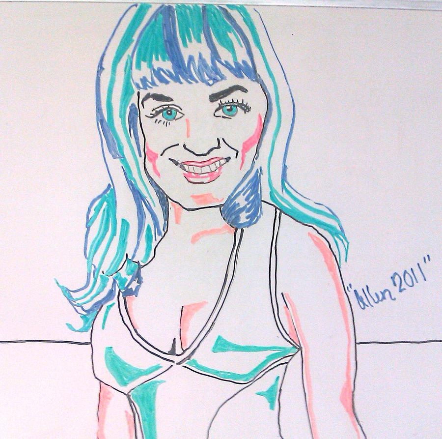Singer Drawing - Katy Perry by Allen Walters