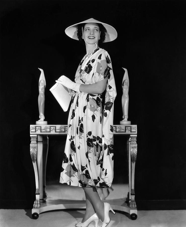 1930s Fashion Photograph - Kay Francis Modeling Floral-print Crepe by Everett