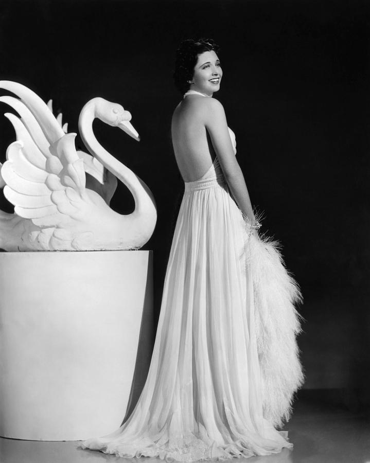 1930s Fashion Photograph - Kay Francis Modeling White Chiffon by Everett
