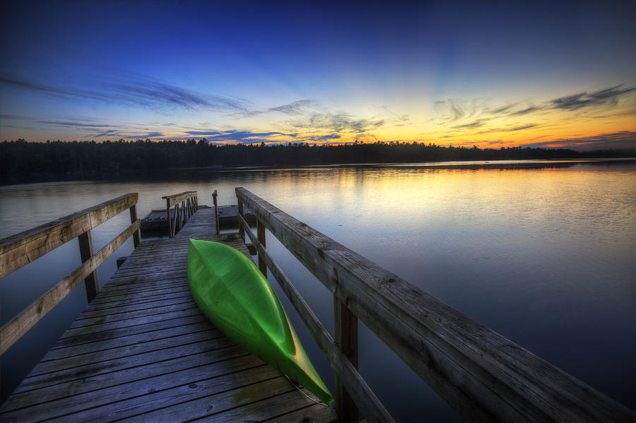 Sunrise Photograph - Kayak By The Lake by Zarija Pavikevik