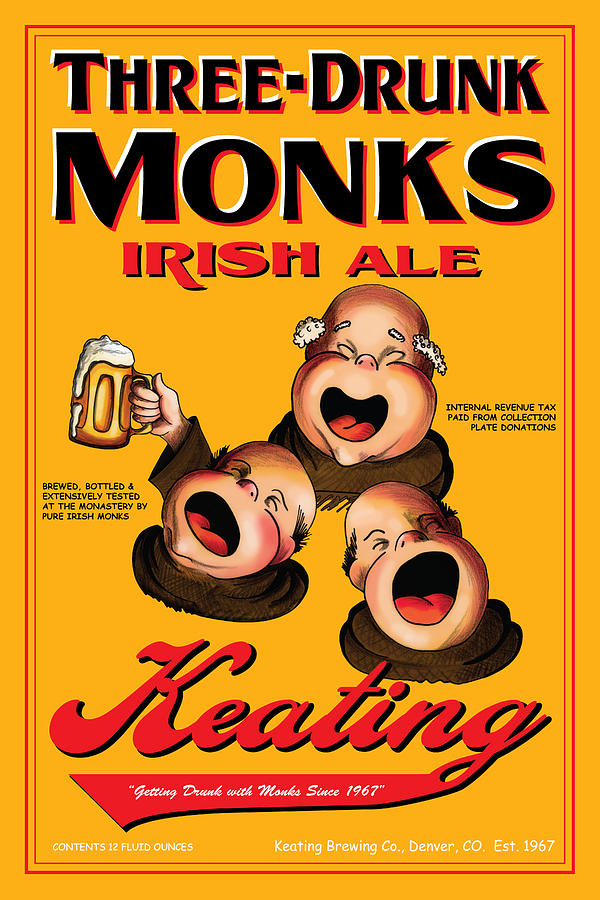 Monks Drawing - Keating Three Drunk Monks by John OBrien