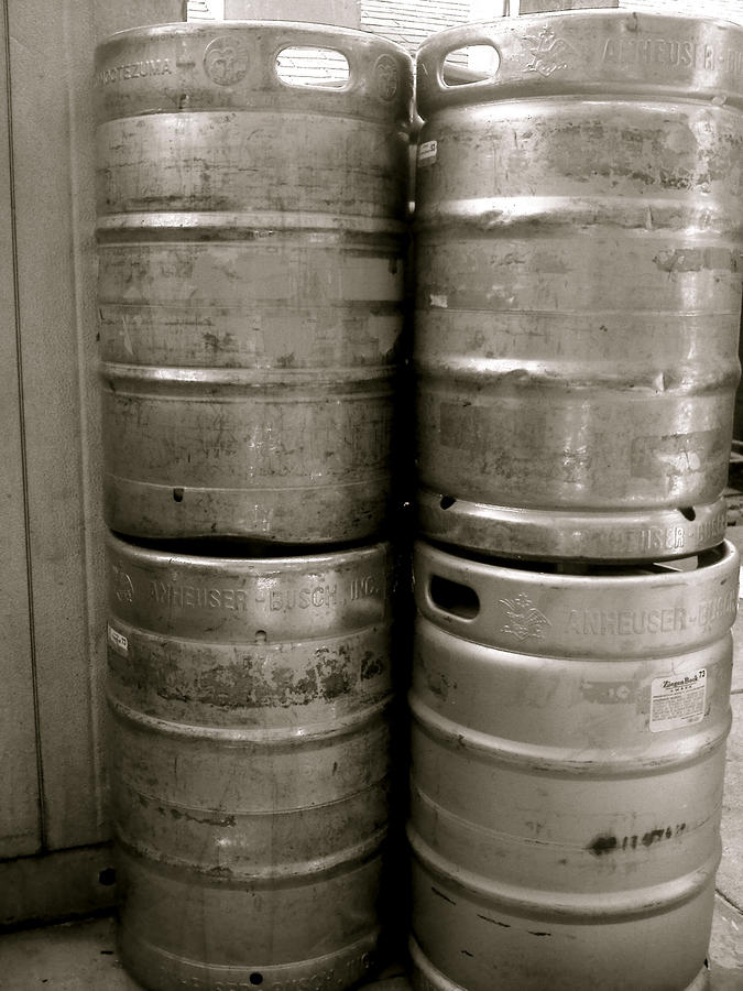 Black And White Photograph - Kegs by Amber Hennessey