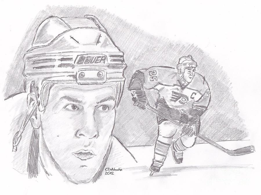 Philadelphia Drawing - Keith Primeau by Chris  DelVecchio