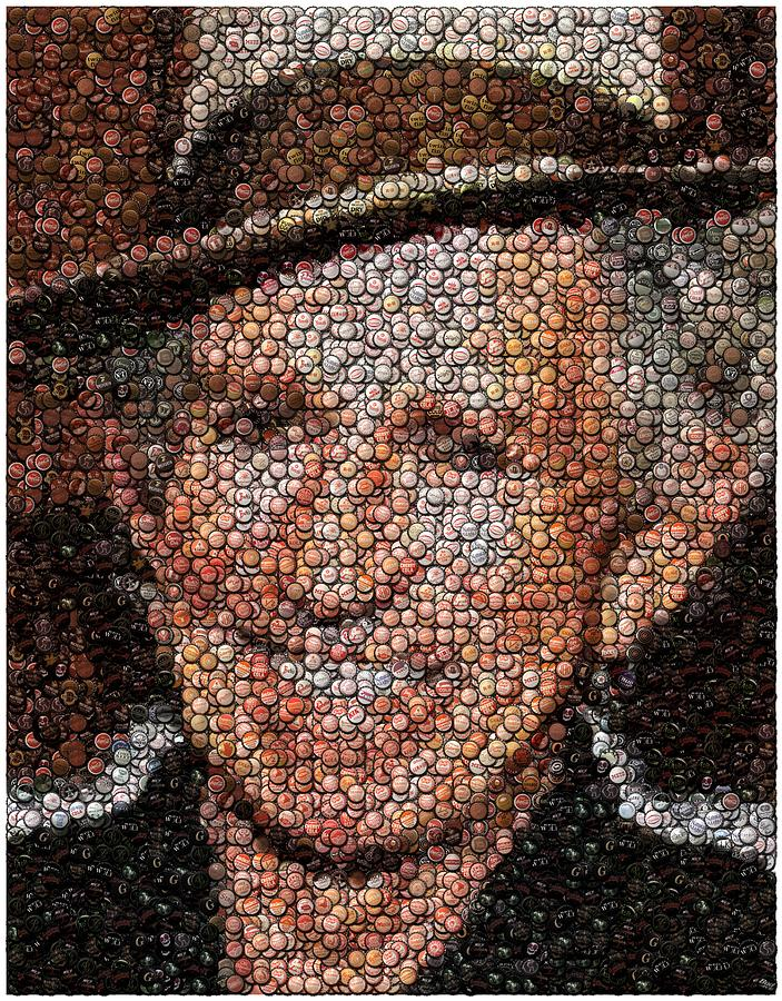 Keith Richards Mixed Media - Keith Richards Bottle Cap Mosaic by Paul Van Scott