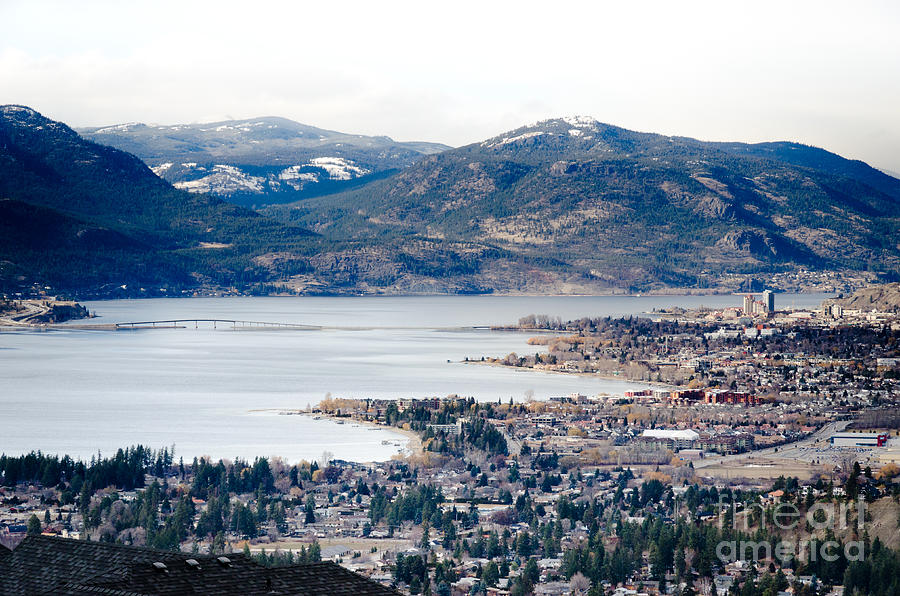 Kelowna Winter View Across The Lake And Bridge Photograph