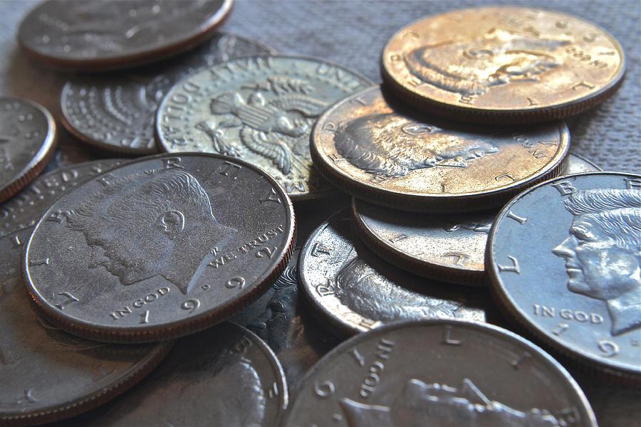 Kennedy Half Dollars Photograph - Kennedy Half Dollars I by Bill Owen
