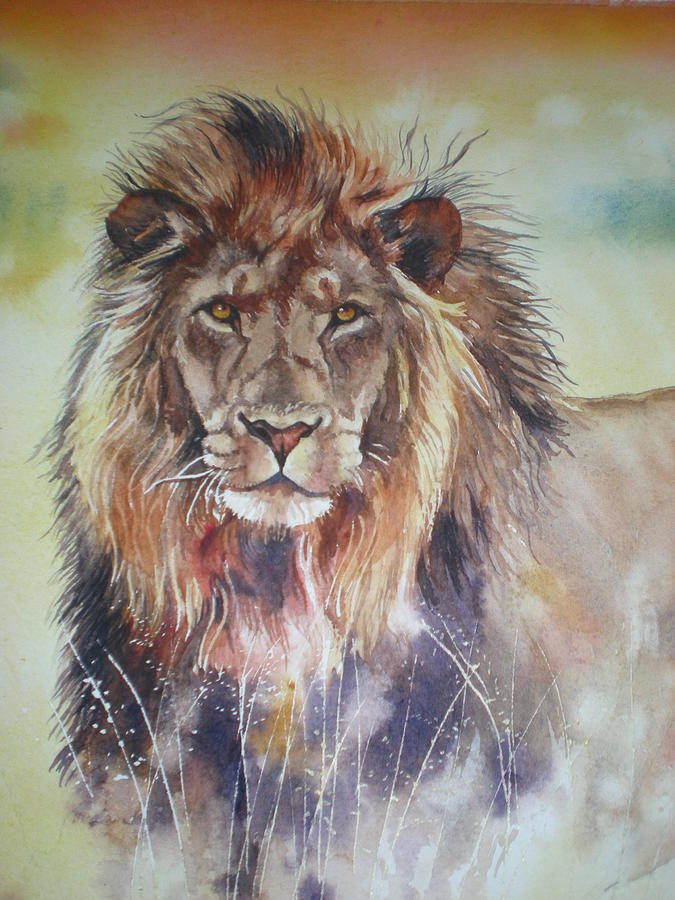 Kenyan Lion Painting by Sandra Phryce-Jones