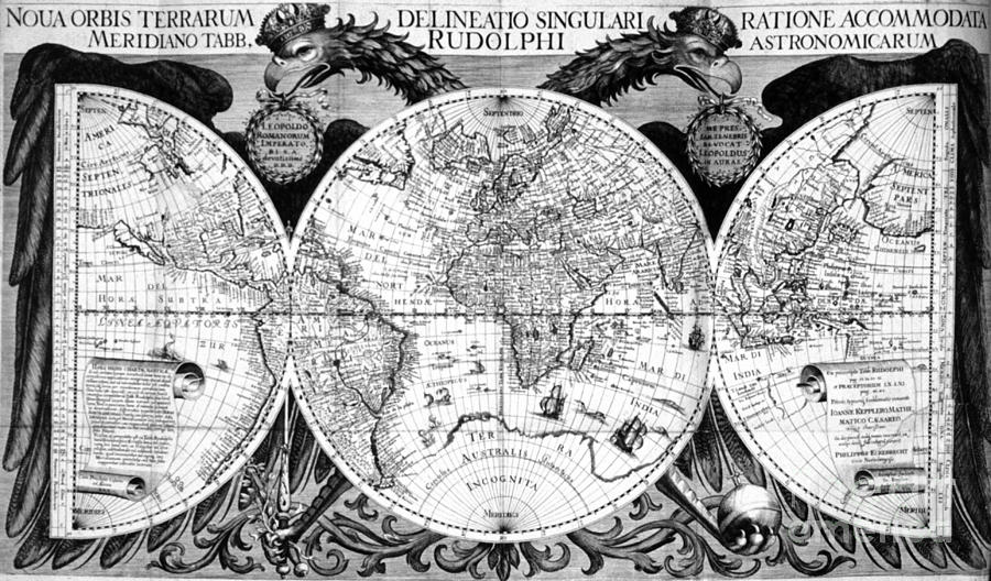 Science Photograph - Keplers World Map, Tabulae by Science Source