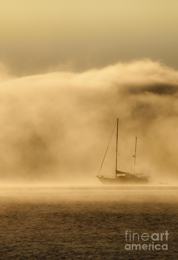 Ketch Photograph - Ketch In Mist by Avalon Fine Art Photography