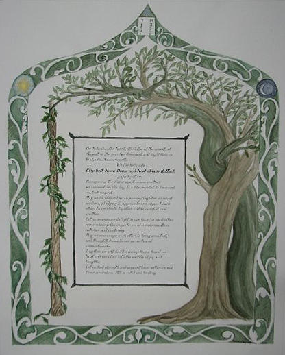 Marriage Painting - Ketubah  by Roberta Shaughnessy