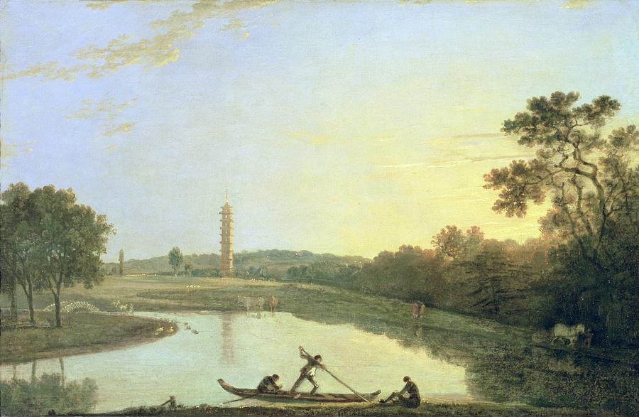 Kew Painting - Kew Gardens - The Pagoda And Bridge by Richard Wilson