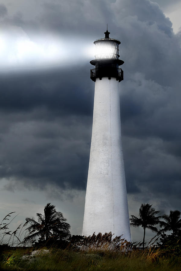 Aurora Photograph - Key Biscayne Lighthouse by Rudy Umans