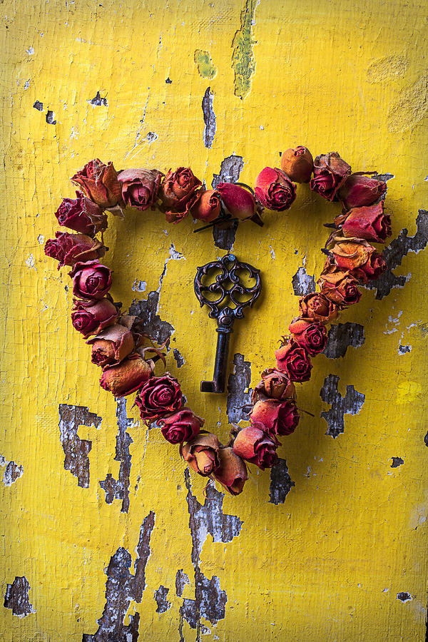 Love Rose Heart Wreath Key Photograph - Key To My Heart by Garry Gay