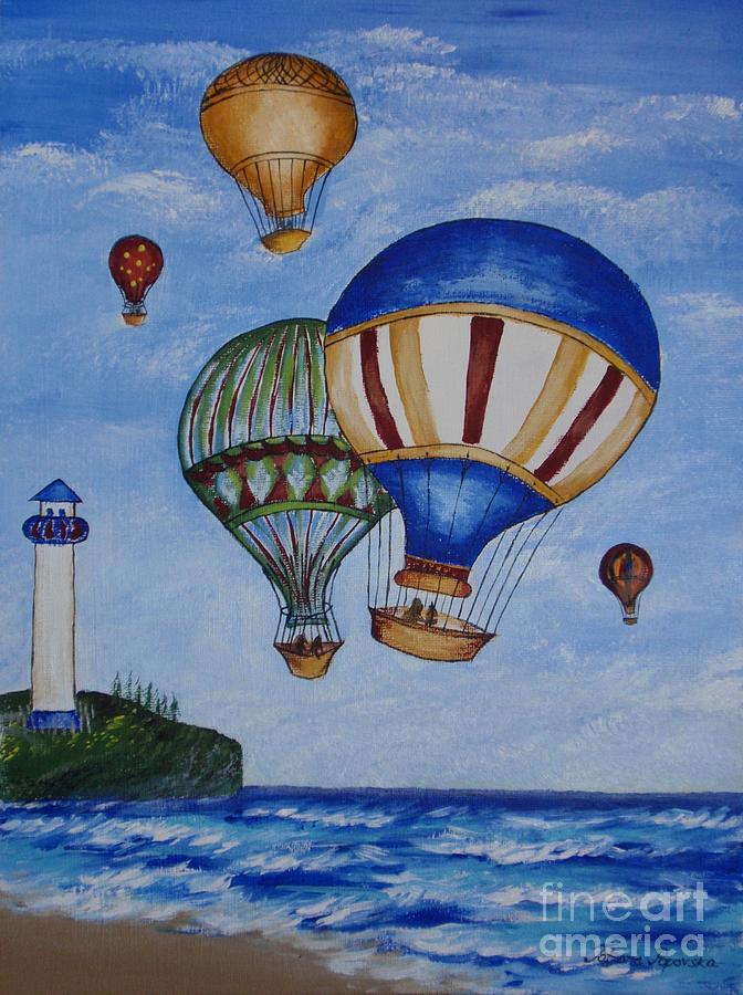 Kid 39 s art balloon ride painting by tatjana popovska for Cute painting ideas for kids