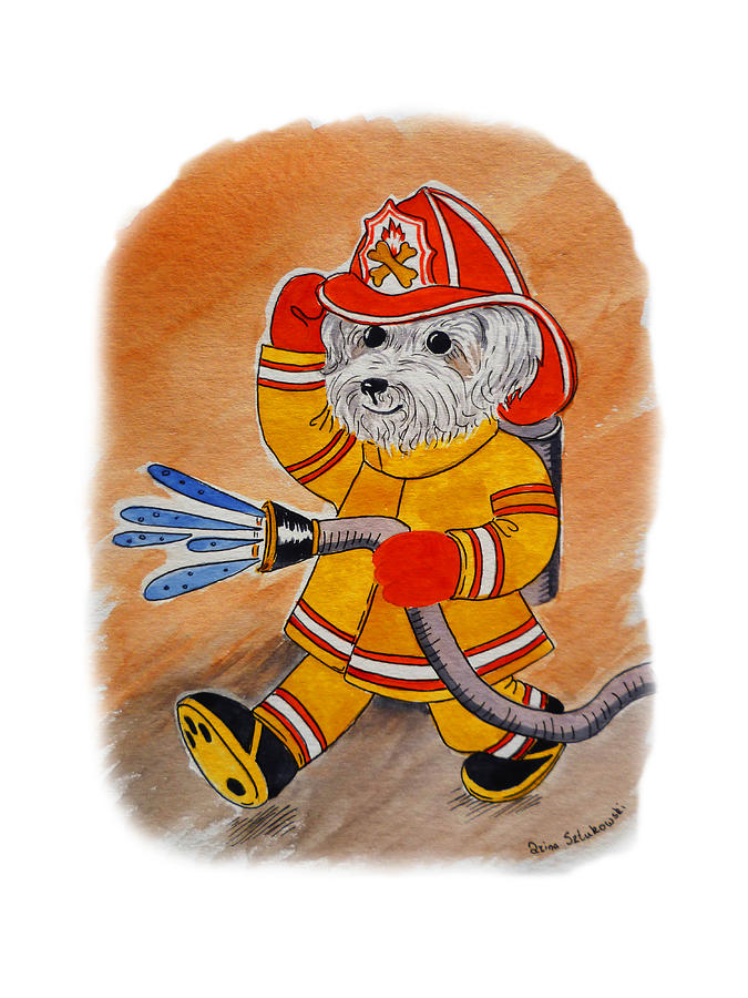Dog Painting - Kids Art Firedog Firefighter  by Irina Sztukowski