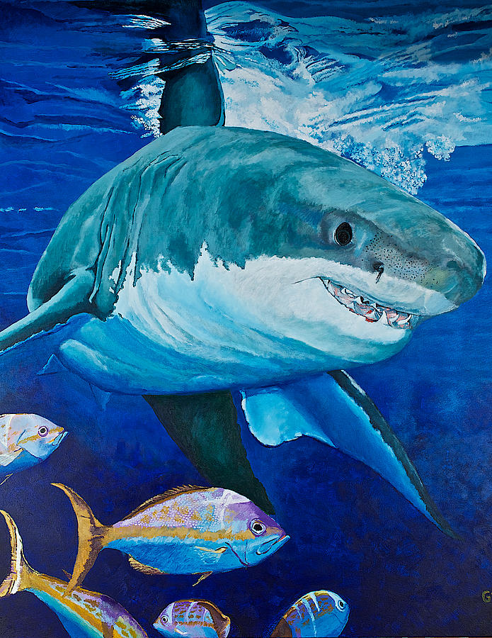 Seascape Painting - Kids Love Sharks by Terry Gill