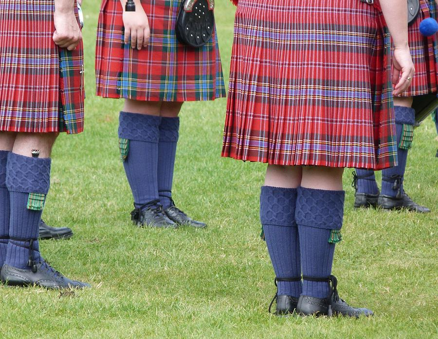 The Kilt Is Worn In Scotland As Part Of Traditional Highland Dress. These Ones Are Worn By Members Of A Pipe Band. Photograph - Kilts by Jennifer Watson