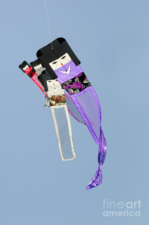 Kite Photograph - Kimono Dolls by David Lade