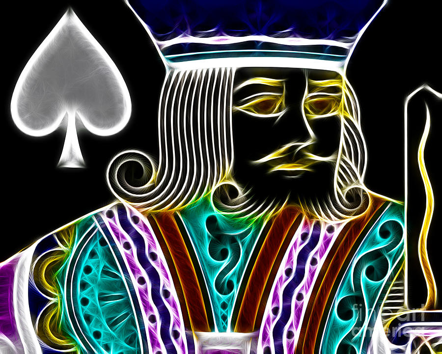 Card Photograph - King Of Spades - V4 by Wingsdomain Art and Photography