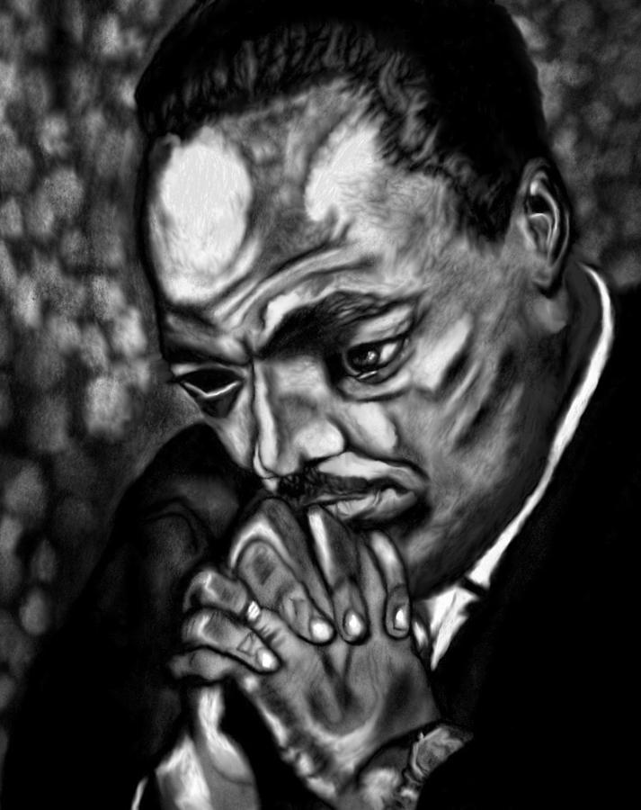 Martin Luther King Jr Drawing - King Of The Mountain by Herbert Renard