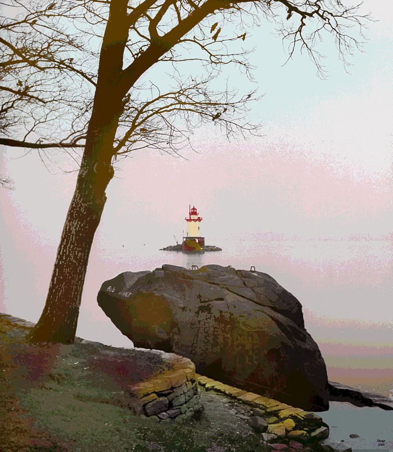 Lighthouse Mixed Media - Kingsland Point Park Lighthouse by Charles Shoup