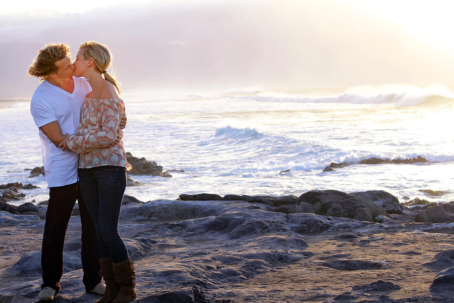 Couple Photograph - Kissed By The Ocean by Dawn Eshelman