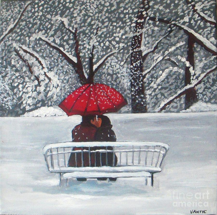 Kisses under umbrella painting by vesna antic for Painting red umbrella