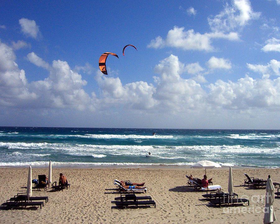 Beach Photograph - Kite Boarding In Boca Raton Florida by Merton Allen
