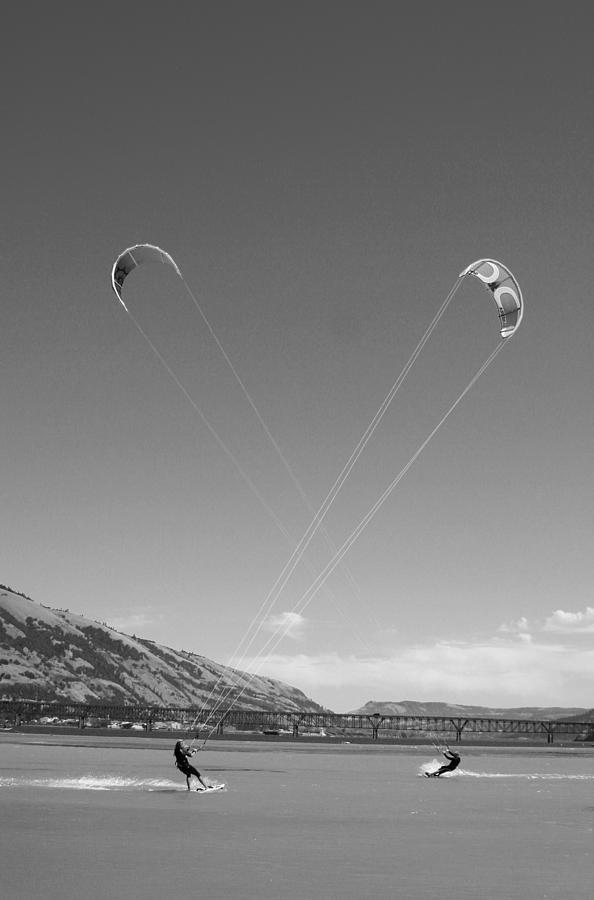 Sports Photograph - Kiteboarding Symmetry by Skip Brown