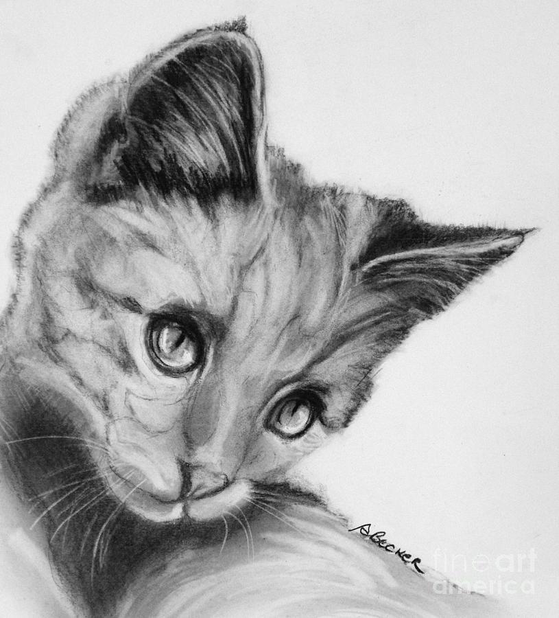 Cat Painting - Kitten Cameo by Susan A Becker