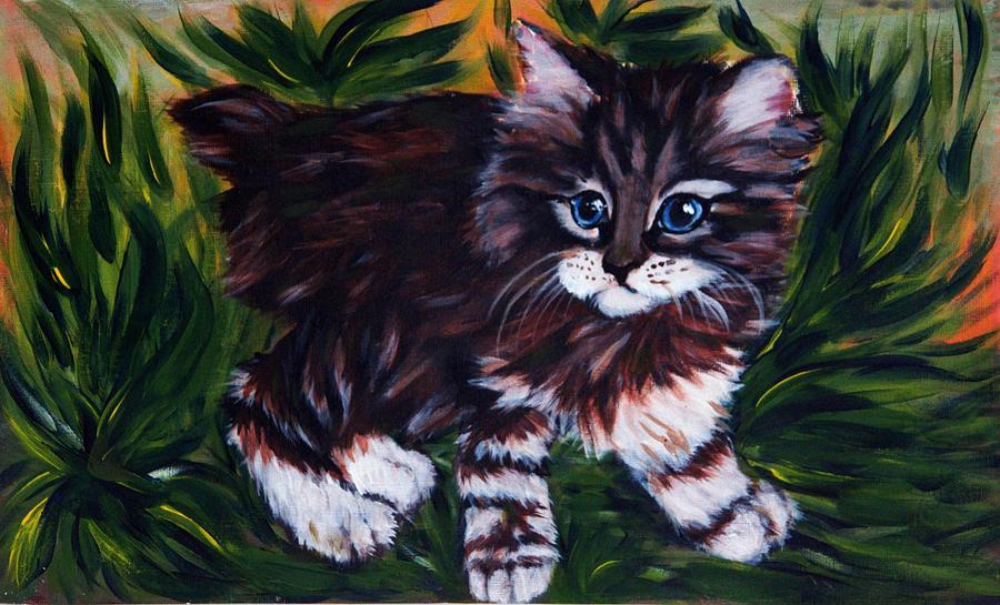 Cat Painting - Kitty by Elena Melnikova
