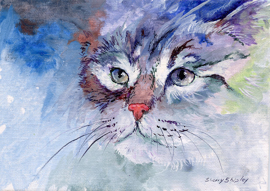 Cat Painting - Kitty In Blue by Sherry Shipley