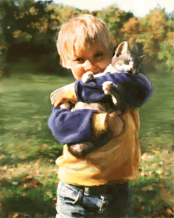 Kitten Digital Art - Kitty Love by Barbara Hymer