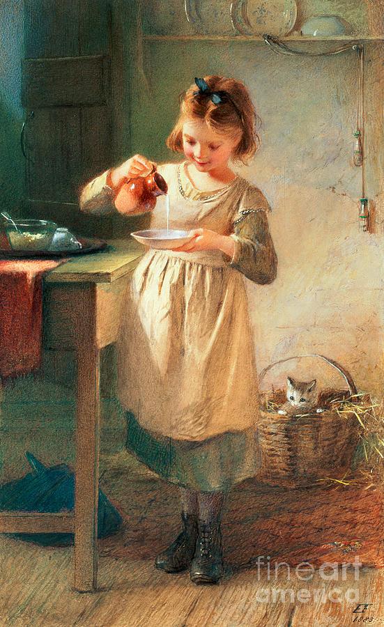 Farmer Painting - Kittys Breakfast by Farmer Emily