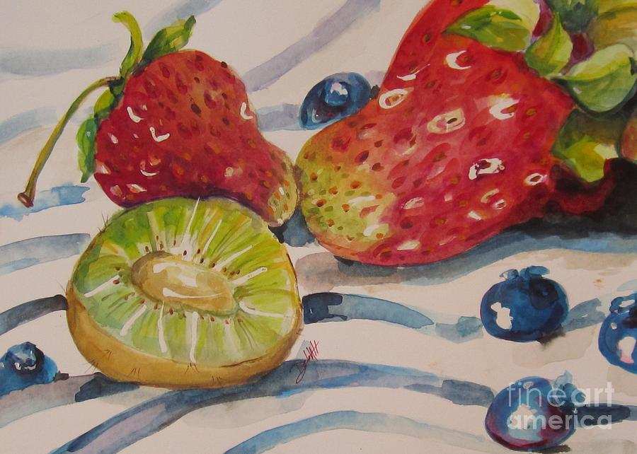 Strawberry Painting - Kiwi And Berries by Delilah  Smith